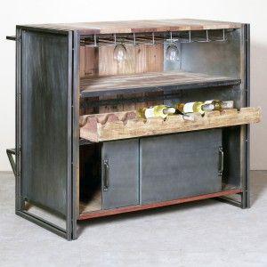 tables & bureaux design industriel - meuble bar industriel 120cm ... - Meuble Bar Design Contemporain