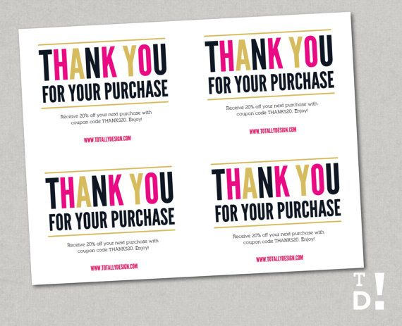 Thank You For Your Purchase Printable Instant Download Freshly Modern Business Thank You Cards Purchase Card Thank You Cards