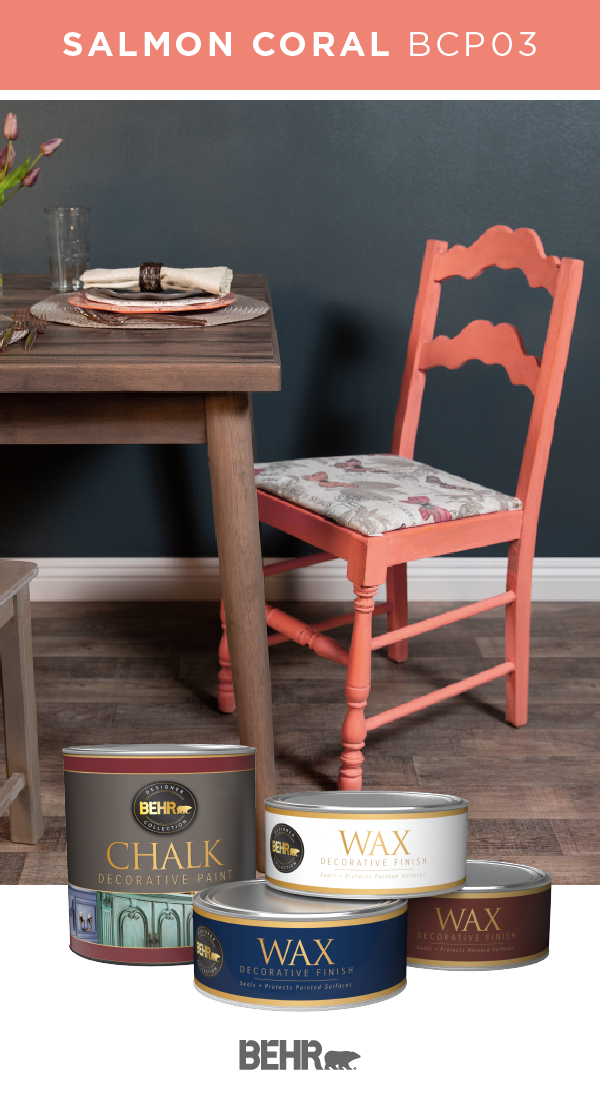 It S Easy To Refresh Old Furniture When You Re Using Behr Chalk Style Paint And Decorative Wax This Kitchen Chair Features A Bright Shade Of Salmon C