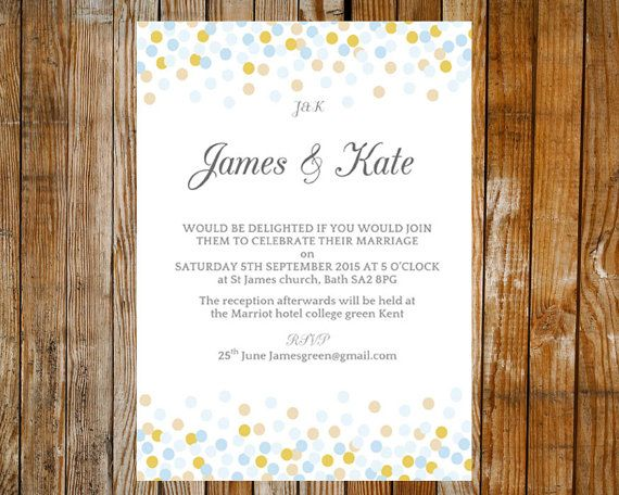 Wedding invitation template - Confetti (pale blue and light gold