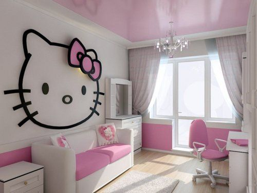 idées décoration chambre enfant hello kitty | girls, offices and