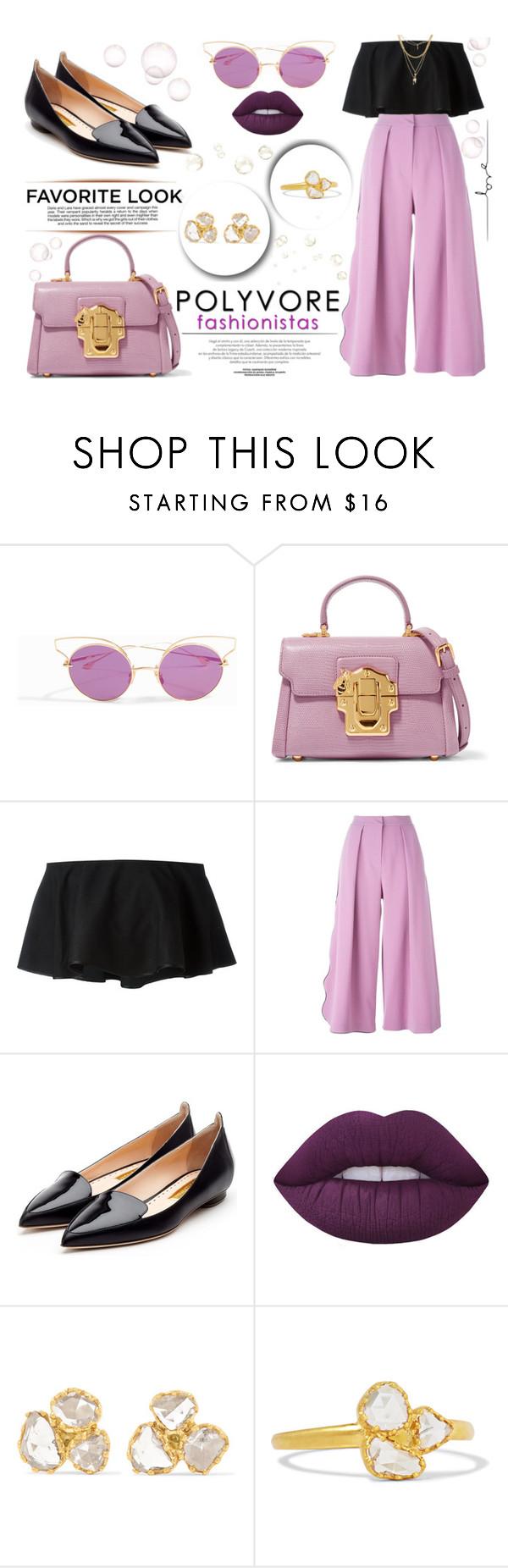 """Polyvore Fashionista"" by yurisnazalieth ❤ liked on Polyvore featuring Dita, Dolce&Gabbana, Industrie, Rosetta Getty, Roksanda, Rupert Sanderson, Lime Crime, Pippa Small and Ettika"