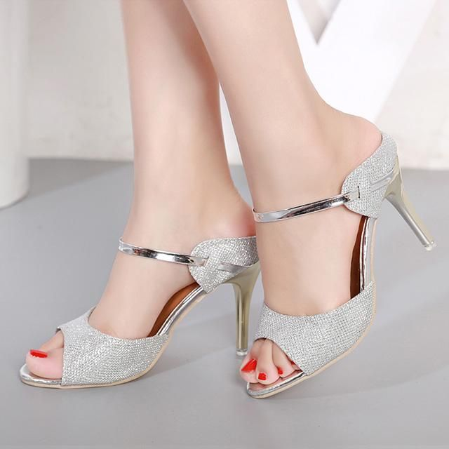 LAKESHI Summer Women Pumps Small Heels Wedding Shoes Gold Silver Stiletto  High Heels Peep Toe Women Heel Sandals Ladies Shoes ecddb312da04