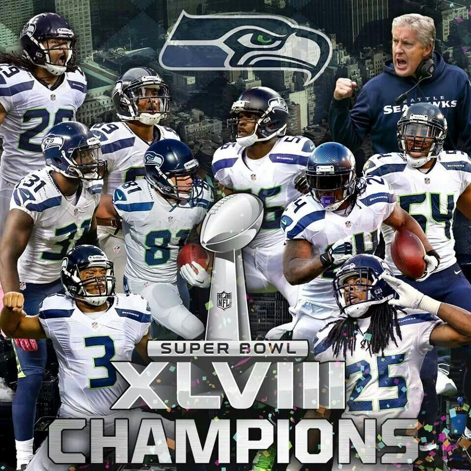 Seattle Seahawks 2014 Their First Ever Superbowl Championship Blew The Denver Broncos Away 43 8 Seahawks Super Bowl Seattle Seahawks Football Nfl Seahawks
