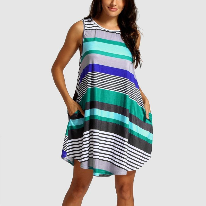 4eae2aaef2f O neck stripe summer dress women sleeveless loose striped sundress 2018  streetwear beach short dress casual vestidos  chiffon  casual  a-line   striped ...