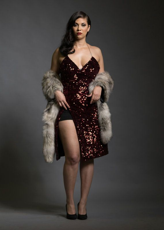 Sz. 12 - 14 Ruby Red Velvet Sequin Split Dress Jessica Rabbit Evening Gown Cocktail Dress Red Carpet Plus Size Curvy Leg Slit Christmas