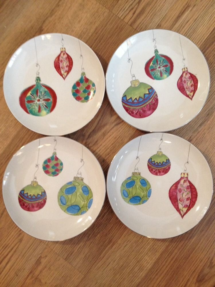 Set Of 4 Rosanna Christmas Salad Dessert Plates Ornaments Design 8  #Rosanna & Set Of 4 Rosanna Christmas Salad Dessert Plates Ornaments Design 8 ...