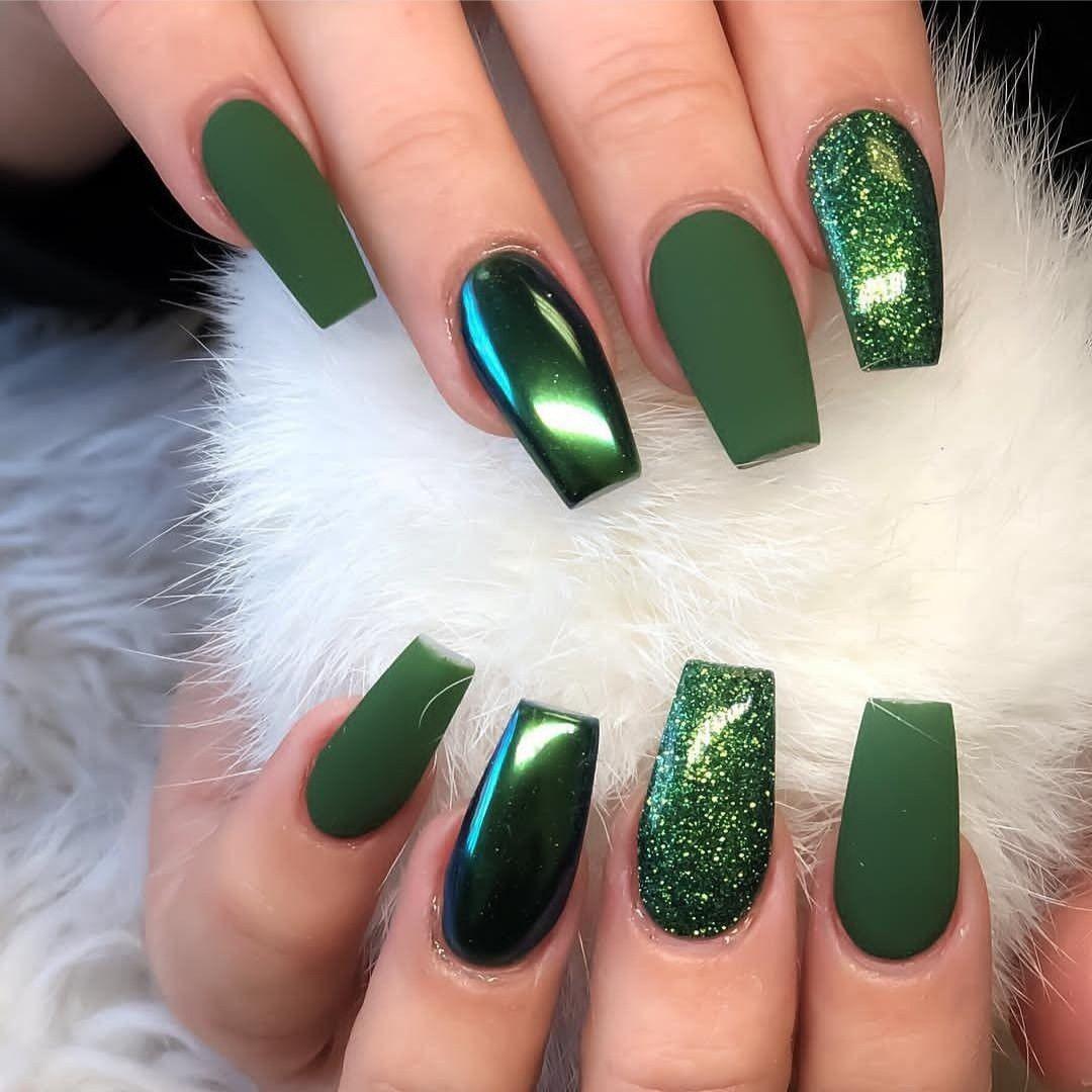 Green Nails Nail Art Matte And Glossy Aesthetic Green Green Nails Nail Designs Pretty Acrylic Nails