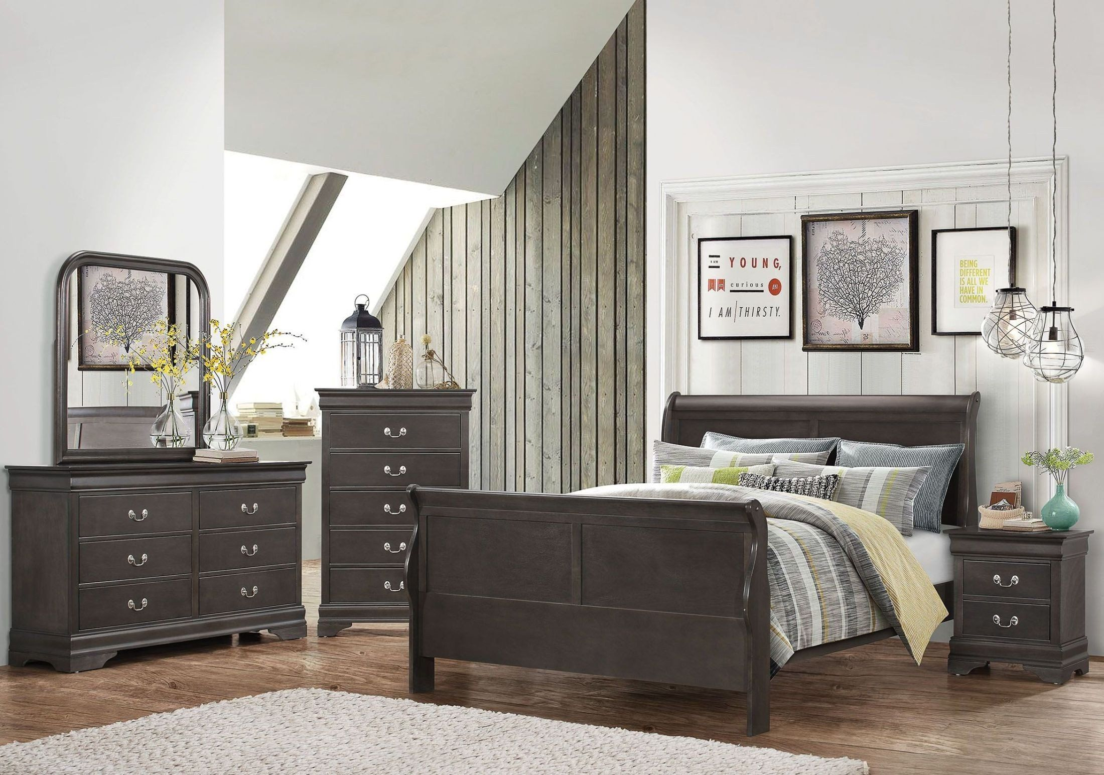 Best Hershel Louis Philippe Dark Charcoal Grey Panel Bedroom 4 400 x 300