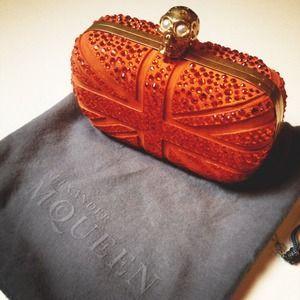 Alexander McQueen Clutches & Wallets - Alexander Mcqueen Britannia Box Clutch in orange suede with Swarovski Crystals.