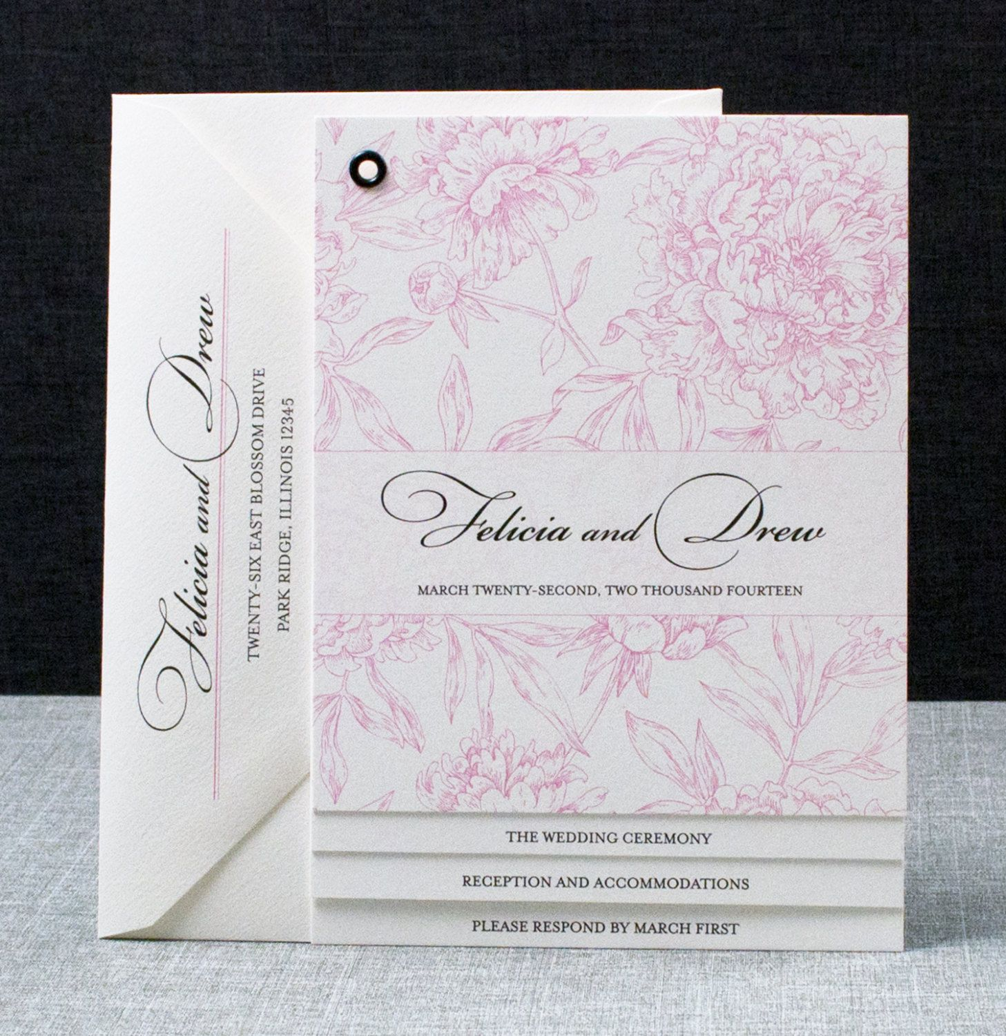second wedding invitations wording%0A Felicia Booklet Wedding Invitation  Pink Peony Pattern Book Invitation