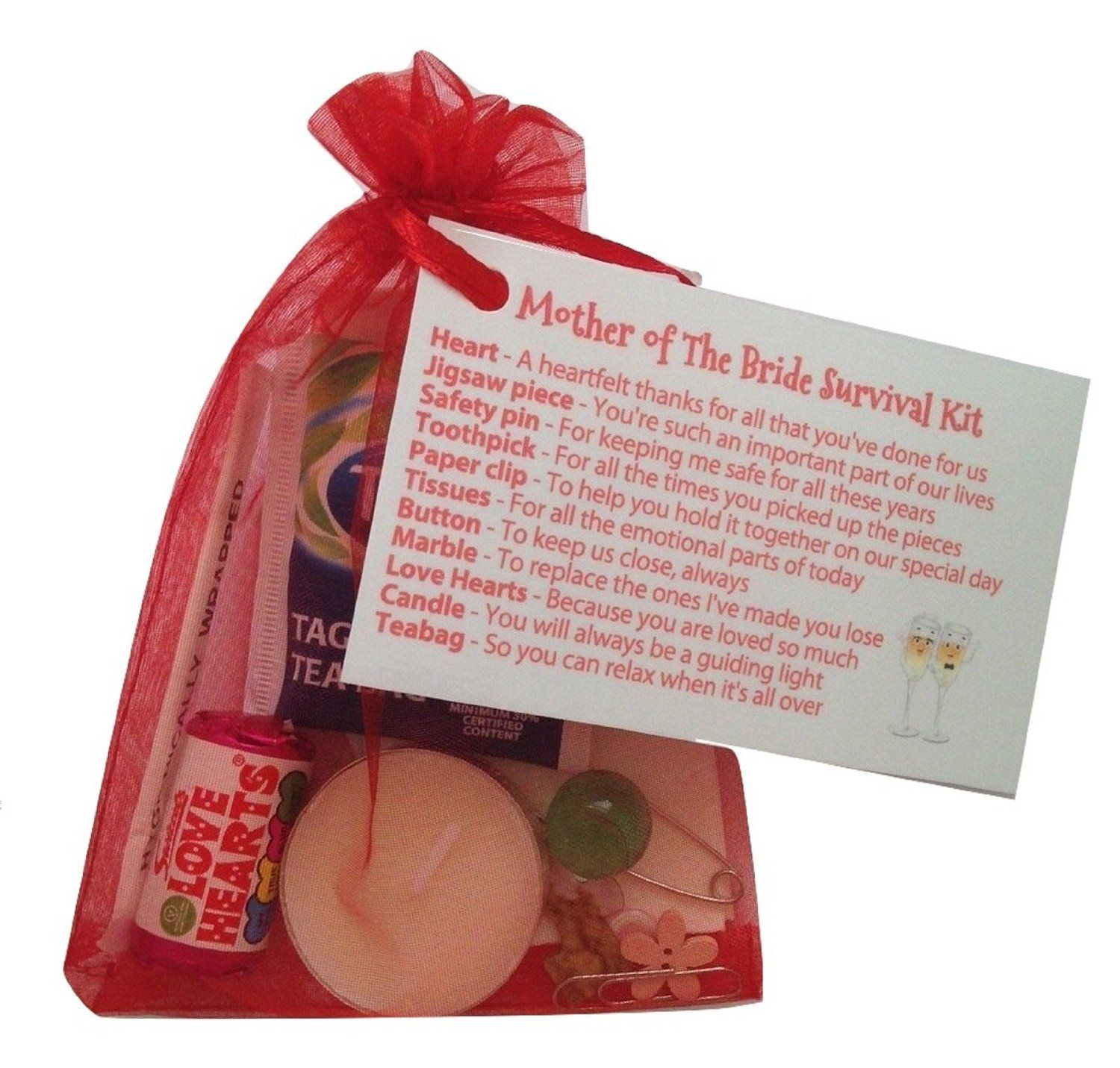 Mother of the Bride Survival Kit in Red. Thank you gift & card ...