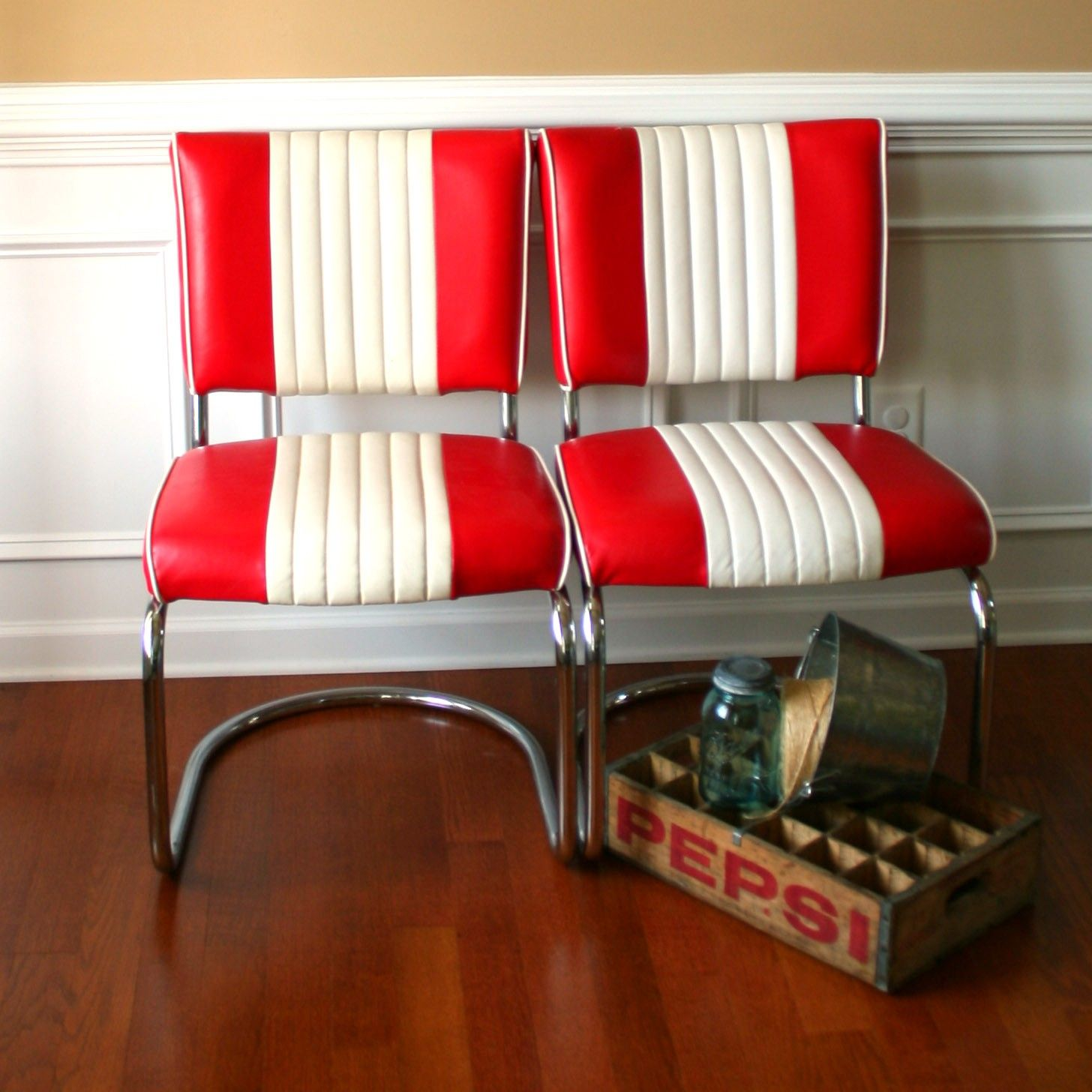 red retro chairs. Mid Century Chairs. Pair Diner Red White. Stripes. Retro. Office Desk. Gameroom. Man Cave. Kitchen. Dining. Nautical. Classic. Preppy Retro Chairs E