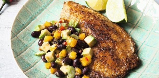 Davina's blackened fish with bean and avocado salsa  - housebeautiful.co.uk