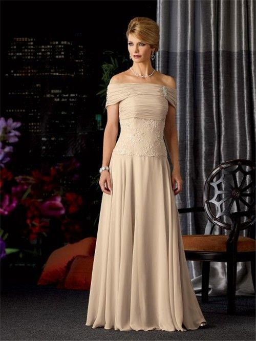 bf38800d3e3 A line strapless long champagne chiffon lace mother of the bride dress with  wrap