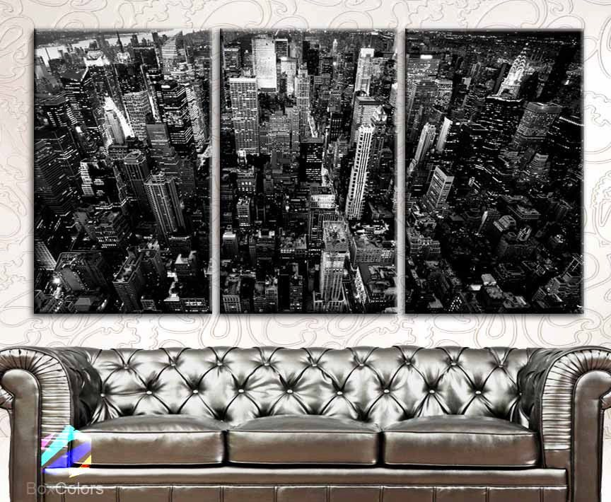 Large 30x 60 3 panels art canvas print new york city downtown building
