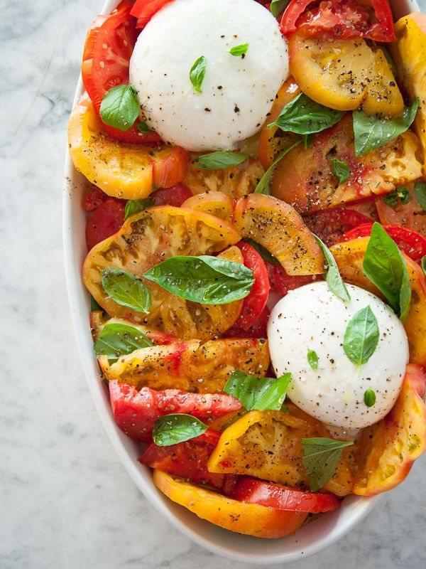 Burrata and Heirloom Tomato Caprese Salad with a drizzle of balsamic #recipe on foodiecrush.com