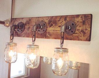 Tarro de masón luminaria  Industrial  luz  luz rústico