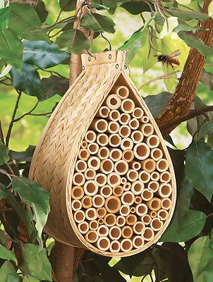 Bamboo Mason Bee Hive House For Outdoor Tree Hanging Yard
