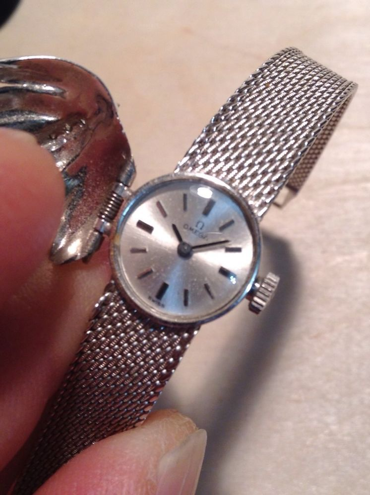 Vintage omega ladies dress watch wth hinge covered 14k white gold ...