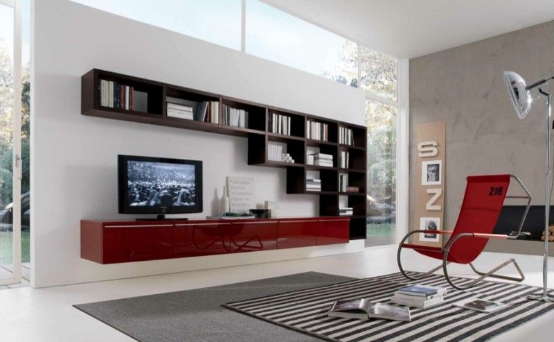 MisuraEmme Futuristic Furnitures For Modern Living Room Designs White Sliding Door TV Cabinets With Bookshelves Contemporary Spac