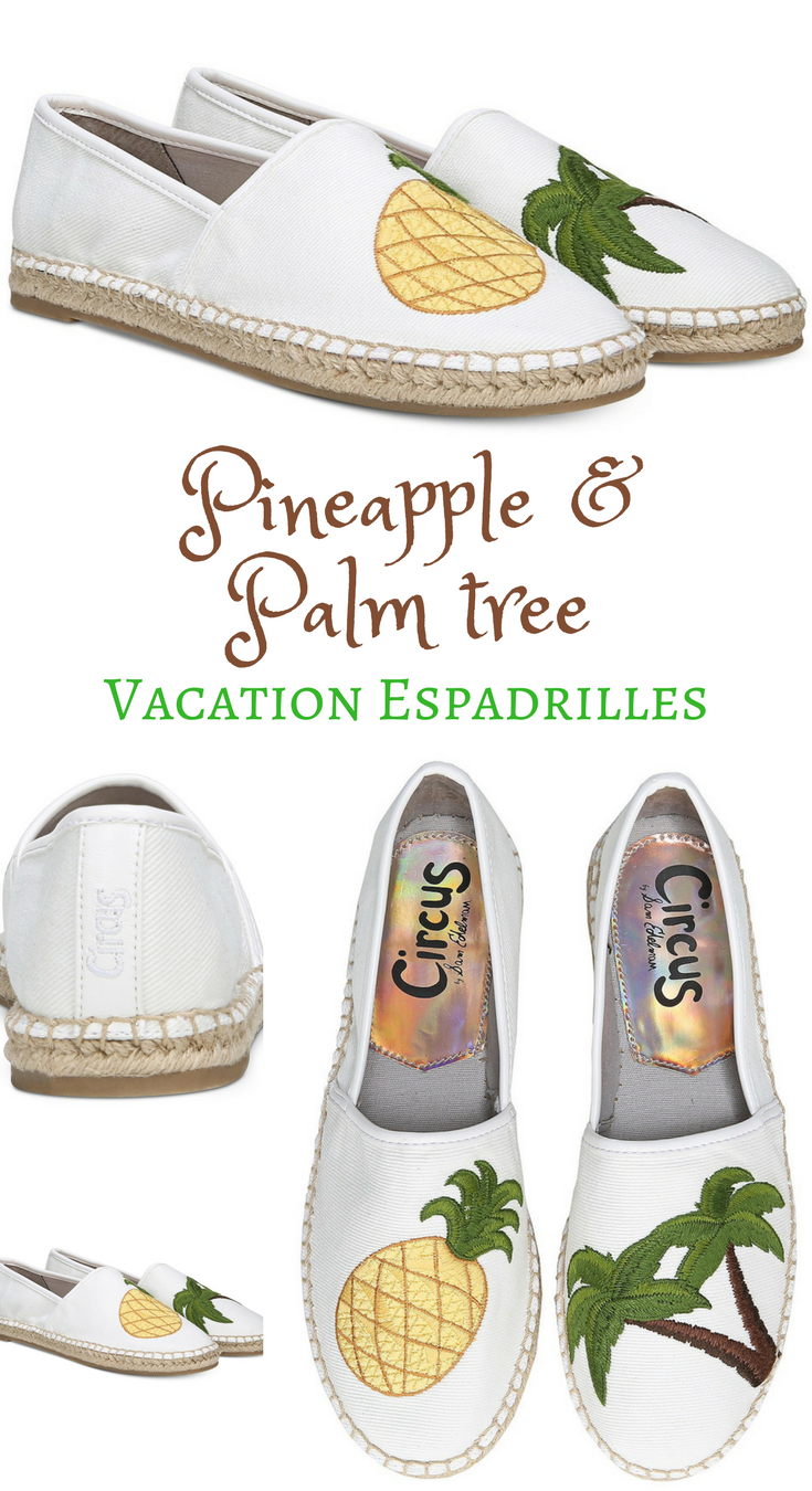 ffa6d9a9f Pineapple and Palm tree vacation espadrilles  shoes. Tropical splash   finish your look with pineapple and palm tree Leni  flats from Circus by Sam  Edelman.