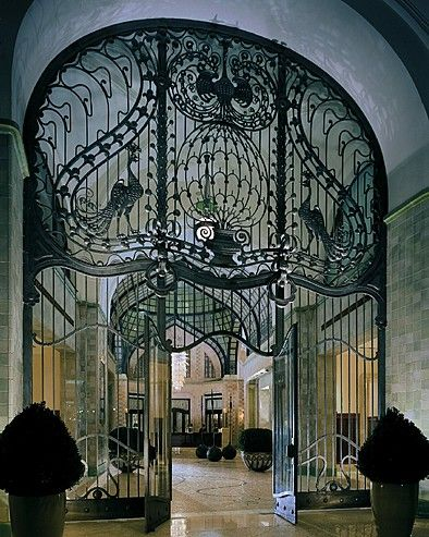 Fantastic wrought iron gateway with peacocks, Budapest, Hungary