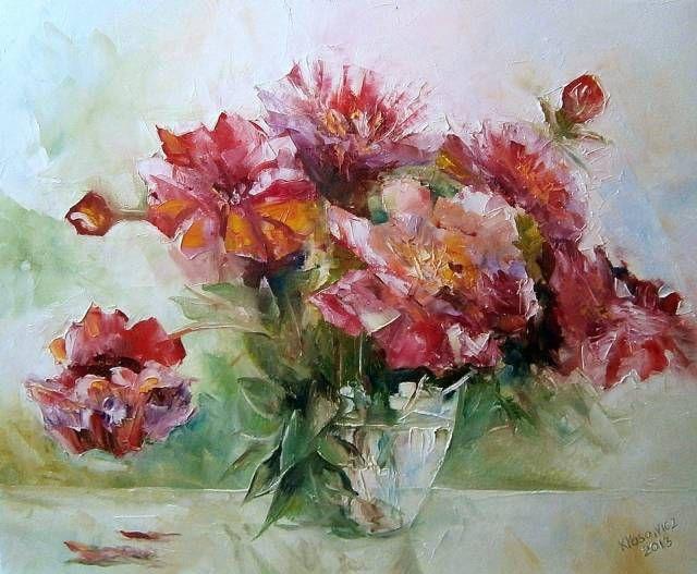 Kwiaty W Szklanym Wazonie Krzysztof Klosowicz Oil Painting Painting Flowers