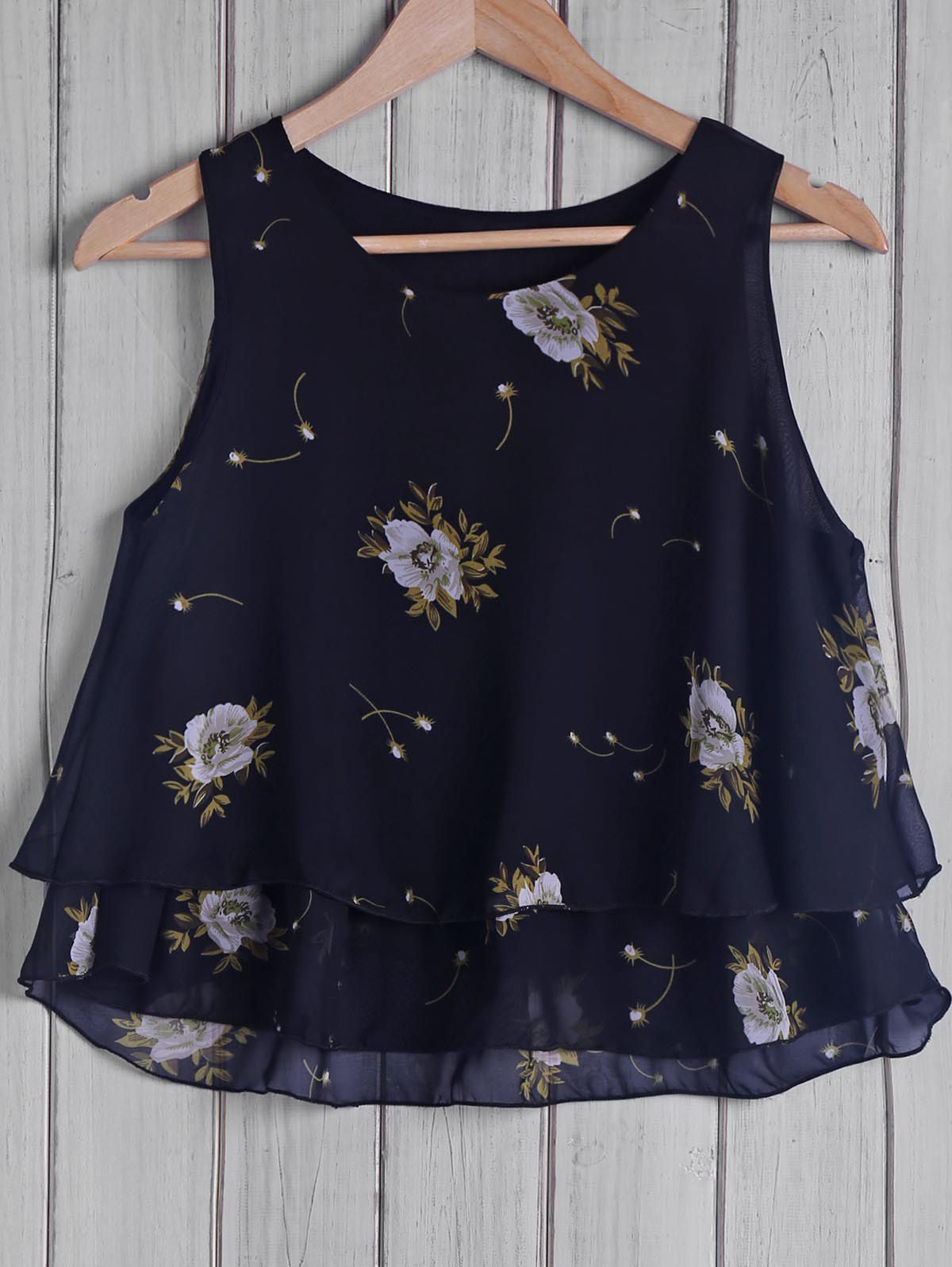 Trendy Round Collar Floral Print Chiffon Women's Tank Top