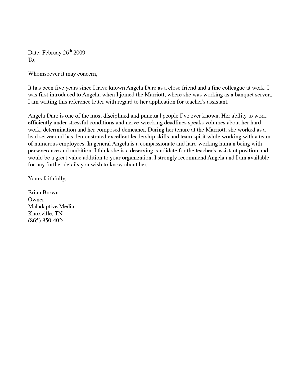 letter of recommendation template for friend