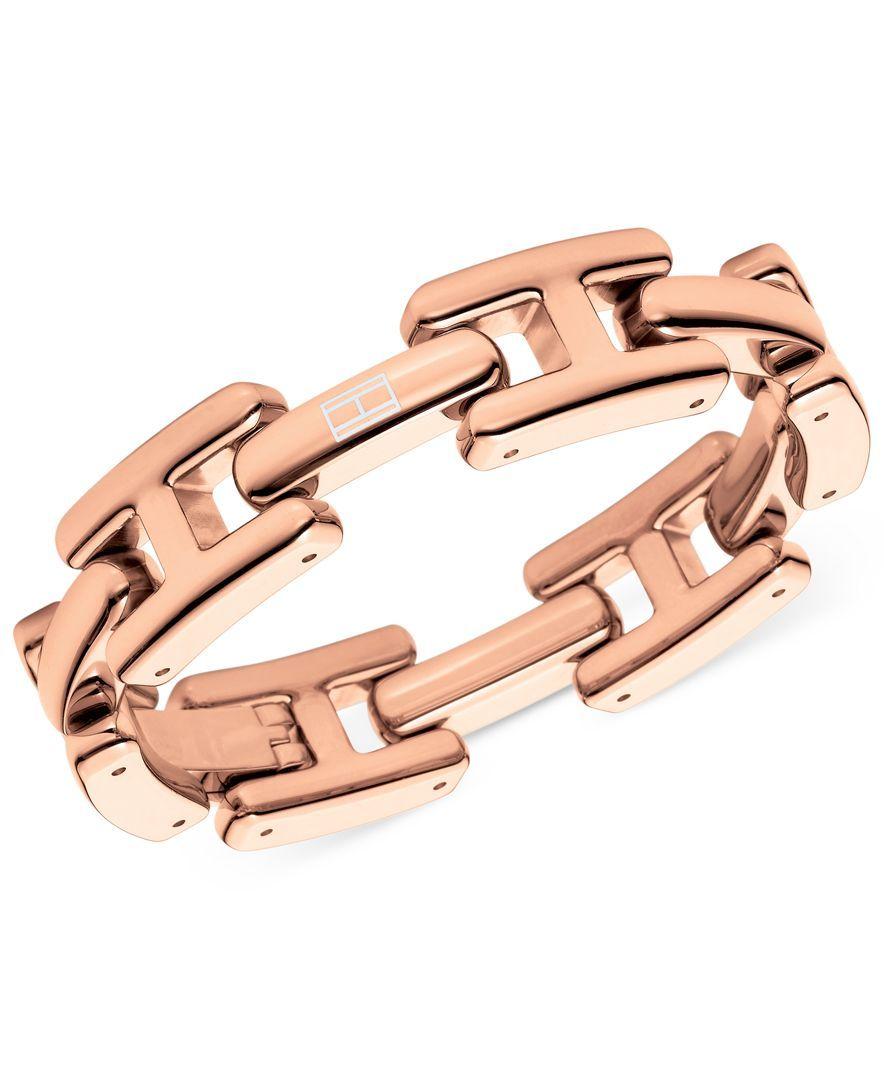 Tommy hilfiger rose goldtone h logo link bracelet products