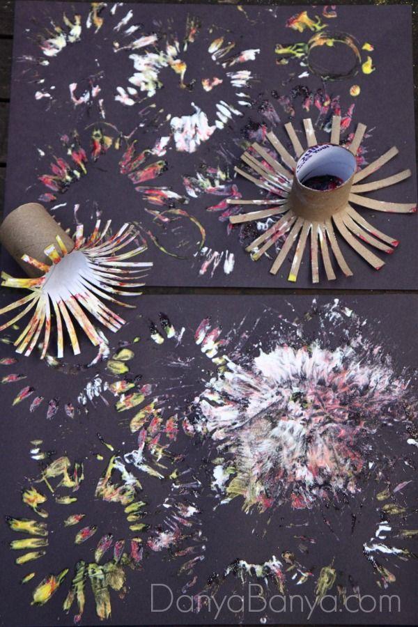 easy fireworks painting for kids preschool silvester. Black Bedroom Furniture Sets. Home Design Ideas