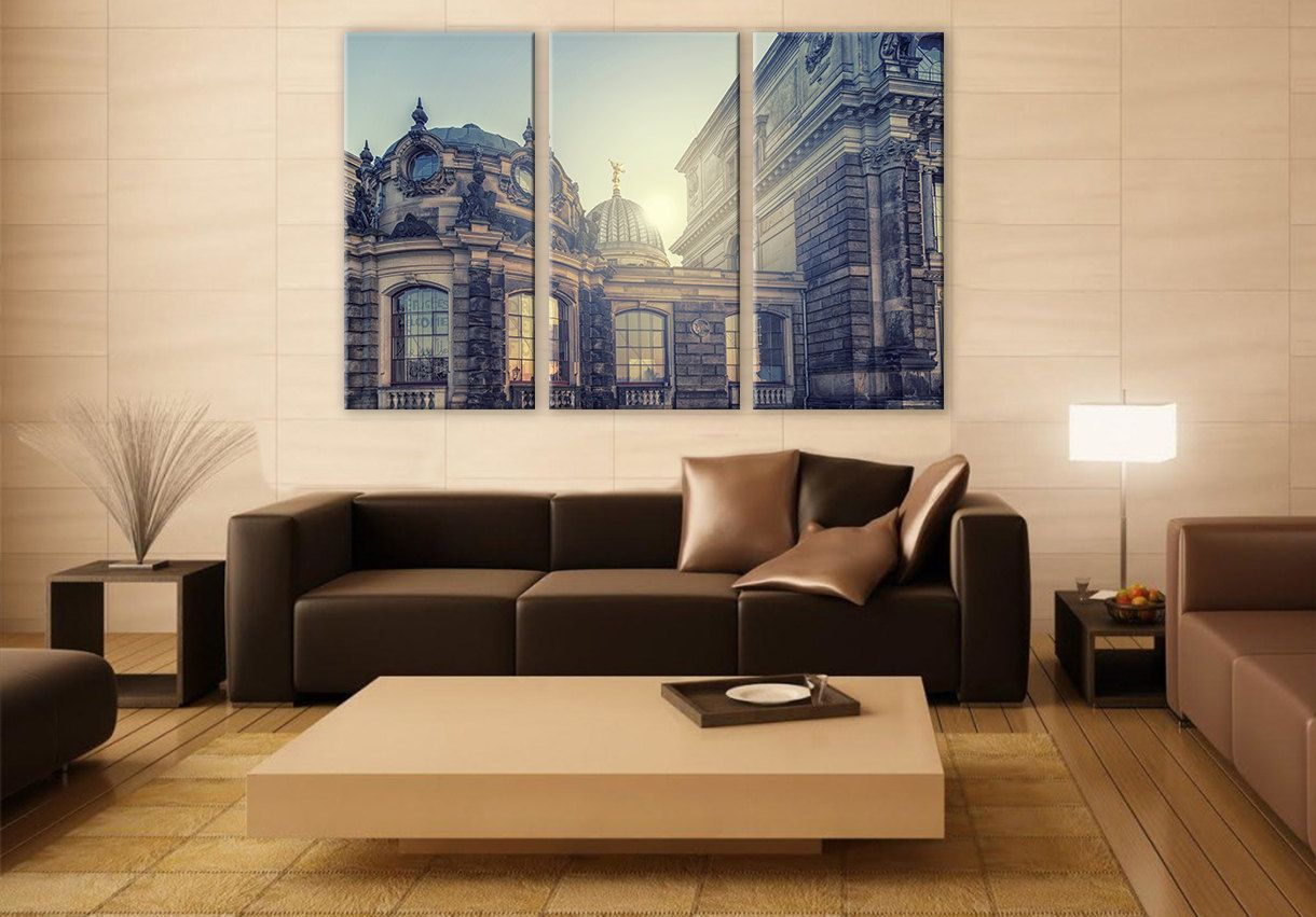 Classic Old Iconic Domes LARGE Canvas 3 Panels Print City Art Wall Deco Fine Art Photography Repro Print for Home and Office Wall Decoration by ZellartCo TAGS cityscape vatican old architecture building sunrise old domes canvas photo art wall decor office decor digital prints stretched canvas interior decor wall poster