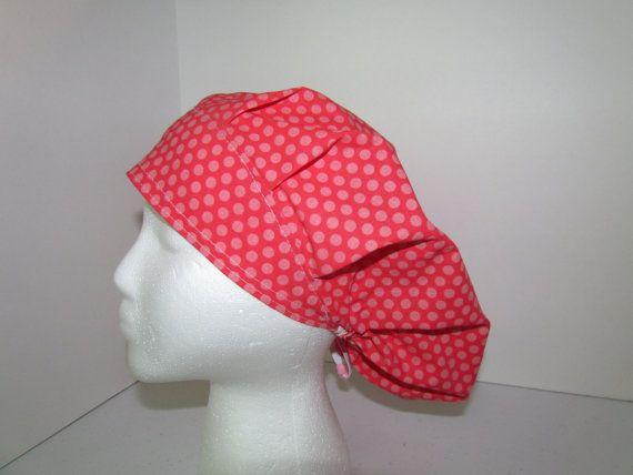 Coral Pink Polka Dot Dotty Bouffant Surgical Scrub by TipTopLids, $15.00