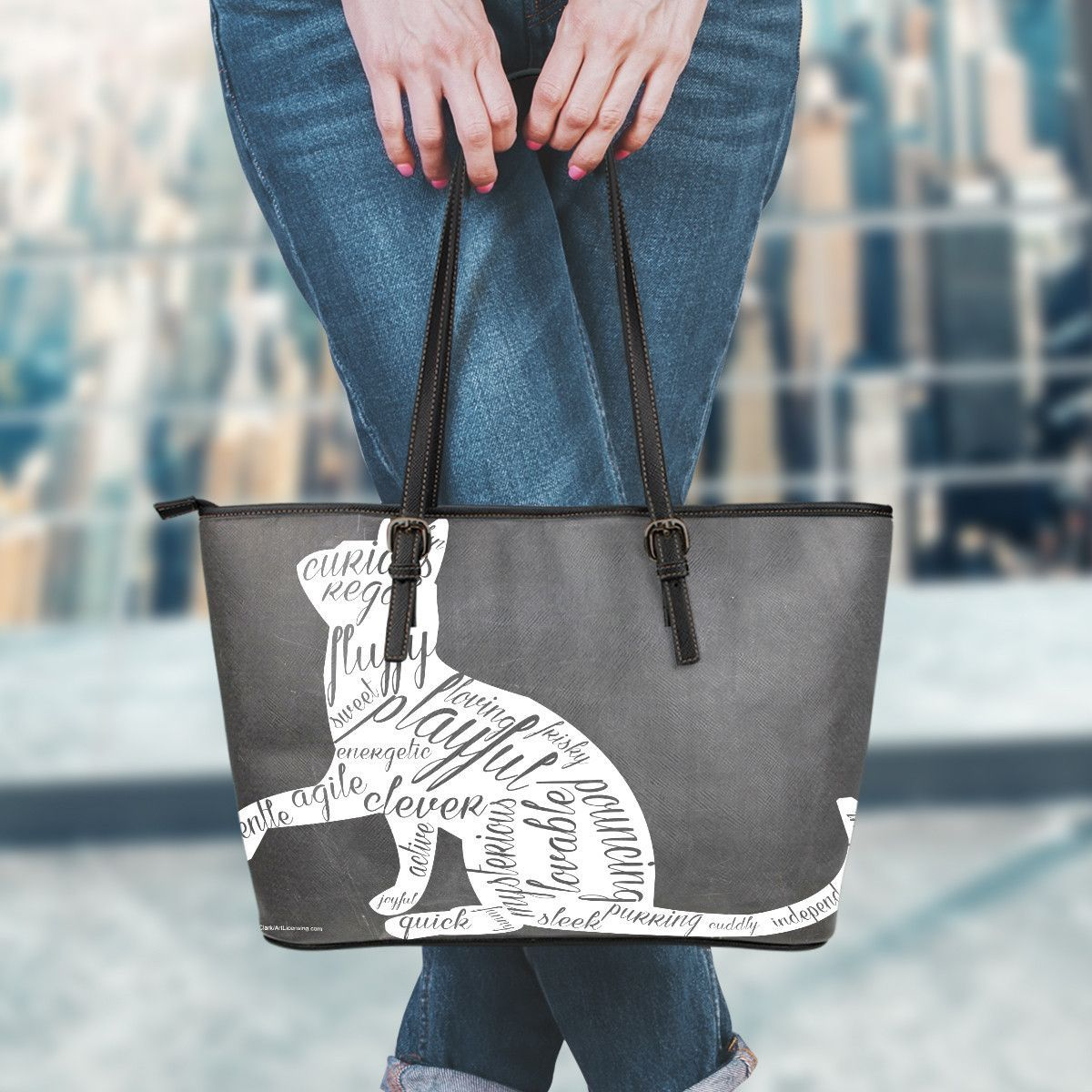 Meaning Of Cat Leather Tote Bag
