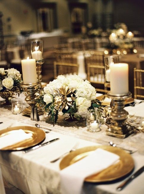 Gold And White Winter Wedding Reception Decor Winter Wedding Ideas