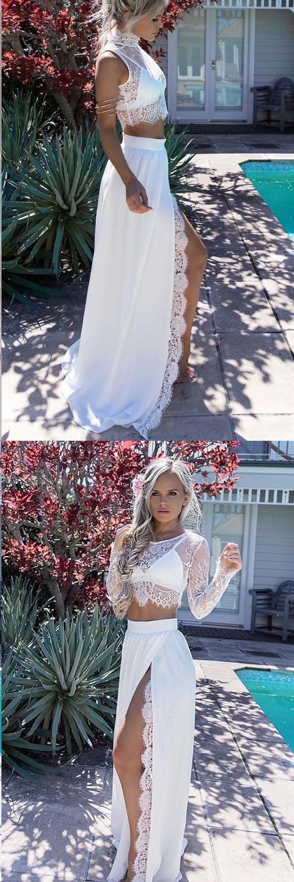 Two piece prom dresses slit aline long sleeve lace long prom dress
