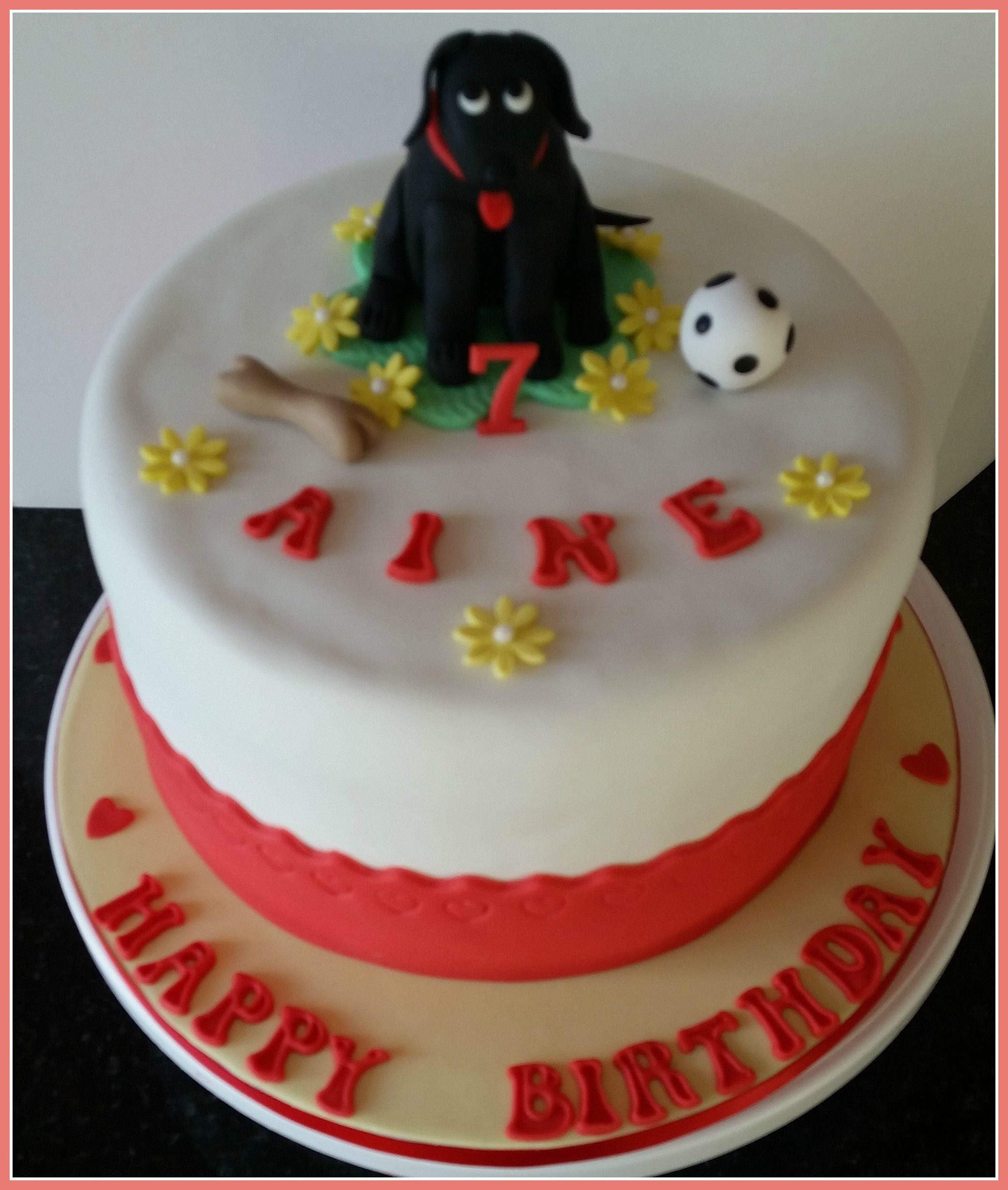 Girls Birthday Cake With Handmade Fondant Dog And His Toys By Cca
