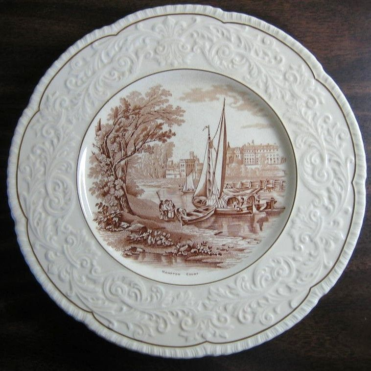 OLD Brown Toile Transferware River Boat Raised Scroll Gold Edge Plate Charger & OLD Brown Toile Transferware River Boat Raised Scroll Gold Edge ...