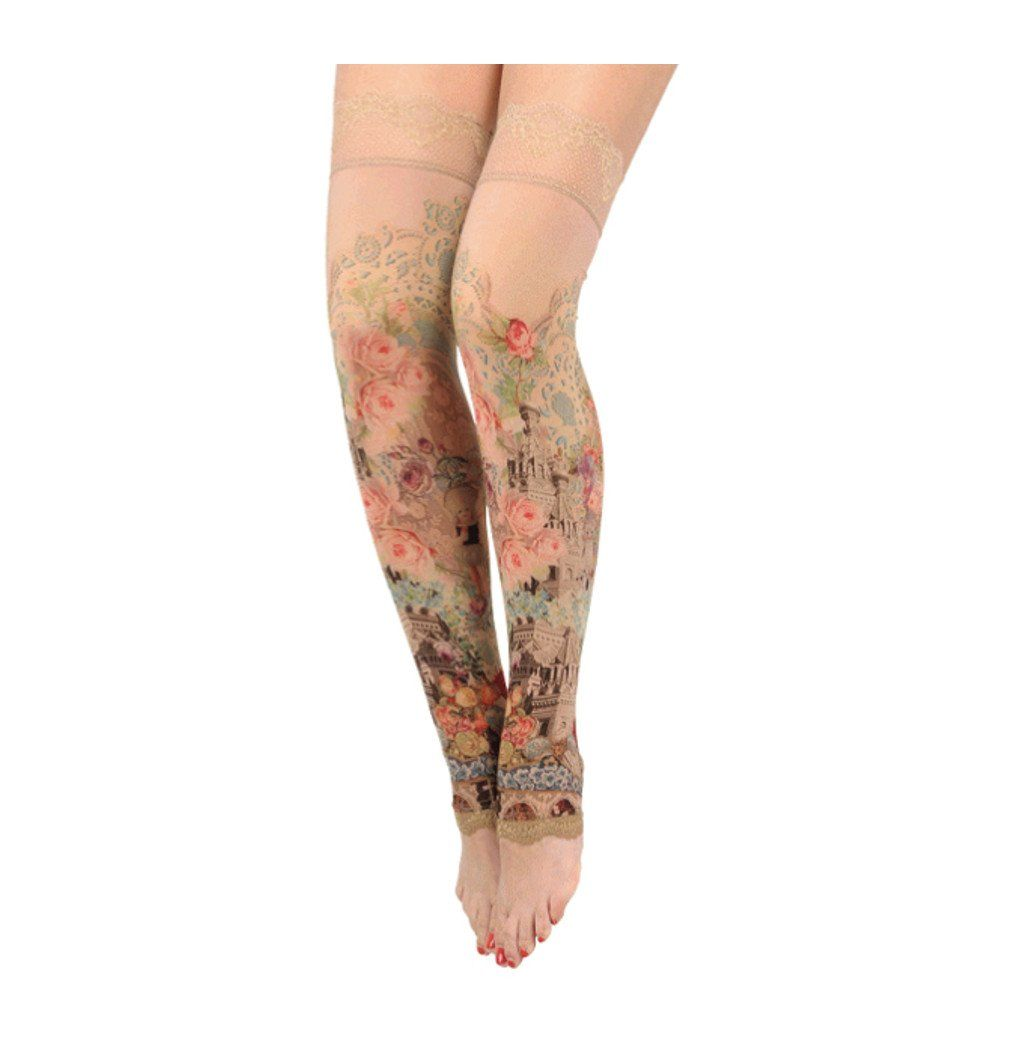 Michal Negrin Thigh-Highs with Lace Trim Edge - Size S
