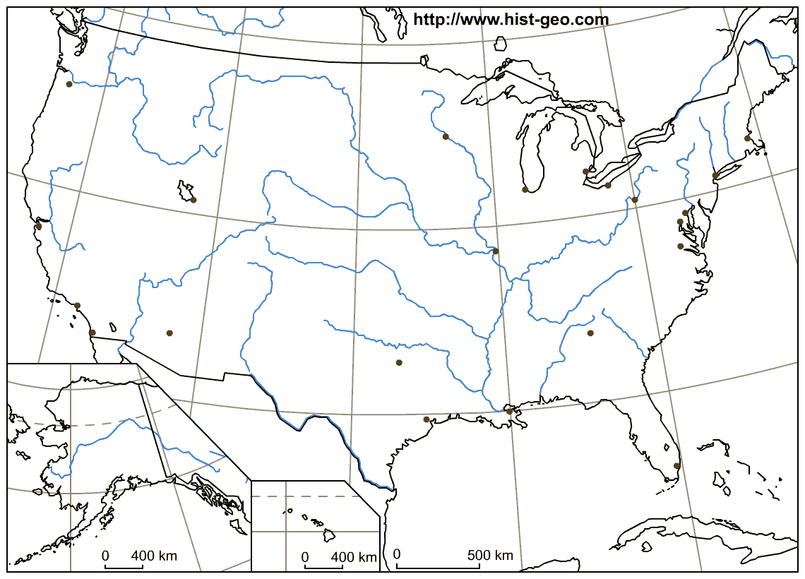 That geographic black and white map is about the usa and is focused revise your geography lessons about us rivers with that blank map where main us rivers are drawn alaska and hawaii are also included gumiabroncs Gallery