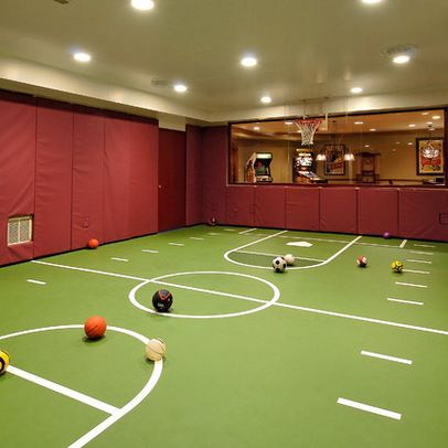 15 ideas for indoor home basketball courts basements for Basement sport court