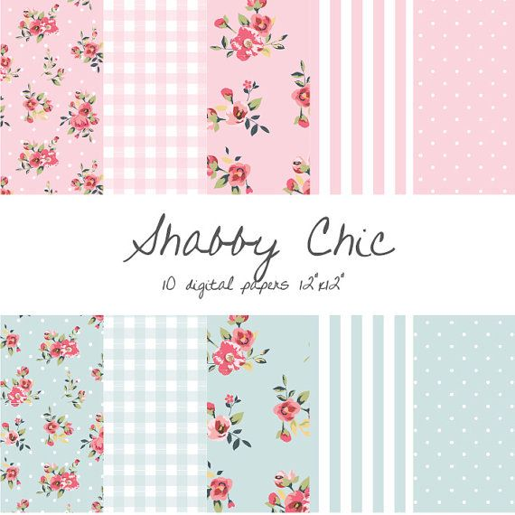 Shabby Chic Digital Paper Floral Gingham Stripes Polka Dots