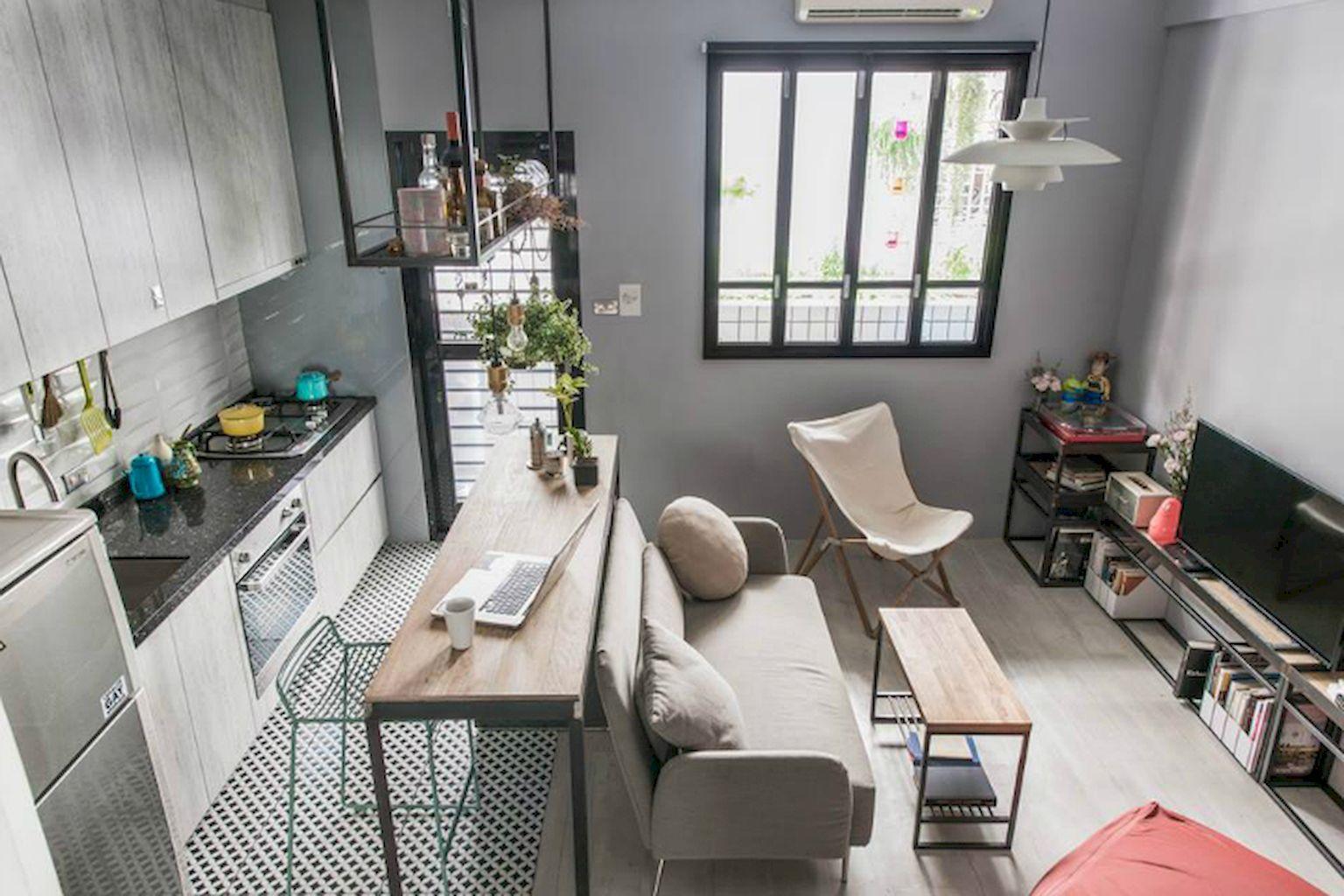 Gorgeous 33 Stylish And Cute Apartment Studio Decor Ideas Https Livinki Small Apartment Living Room Small Apartment Kitchen Decor Apartment Decorating Rental