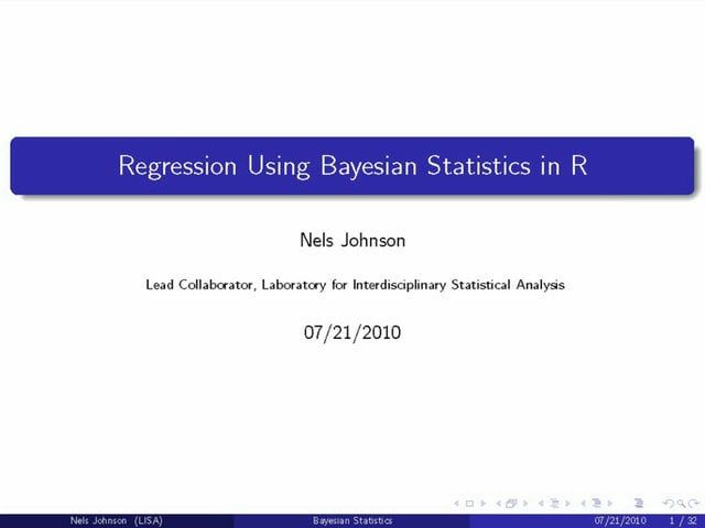 LISA Short Course: Regression Using Bayesian Statistics in R