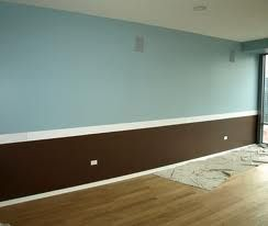 Use Chair Rail To Two Tone Paint A Bedroom Bright Blue And Chocolate For The