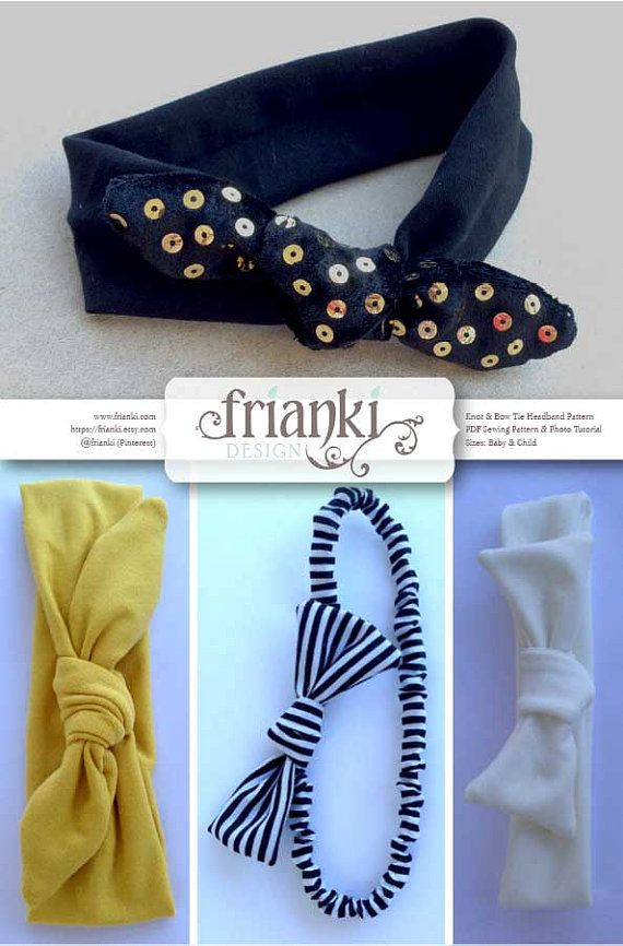 Knot & Bow Tie Headband PDF Sewing Pattern and Photo por Frianki ...