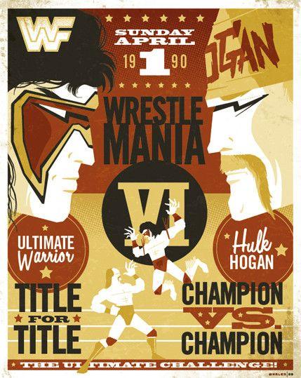 #99 MAKE YOUR SELECTION WWF WWE WRESTLEMANIA 6 HOGAN WARRIOR A4 A3 A2 A1 POSTER