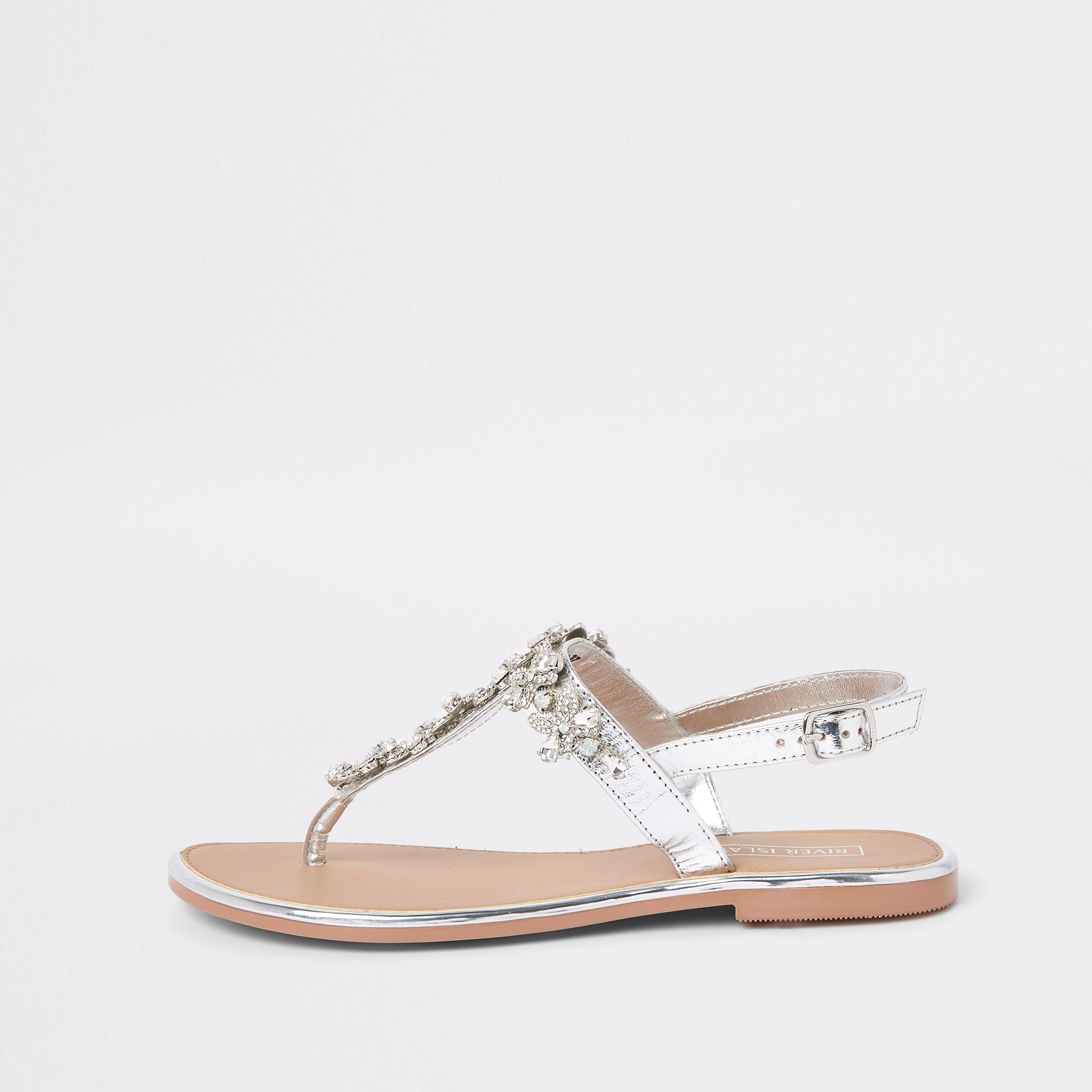5710fd41c98 Silver leather jewel embellished flat sandals in 2019 | Products ...