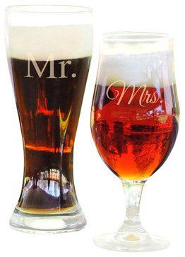 Superb Mr. U0026 Mrs. Pilsner Glasses   Contemporary   Barware   Classic Hostess
